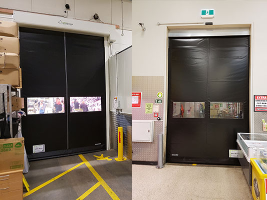 Ulti-Roll Door replaces torn PVC strip curtain in Supermarket